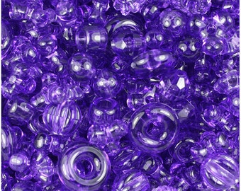Amethyst Purple Transparent Craft Bead Mix 4oz - TriBeads, Melons, Faceted Rounds, Smooth Rounds, Barrels, Rings, Florals - Made in the USA