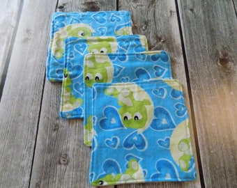 Reusable washable wipes, Baby wipes, Family wipes, Frogs