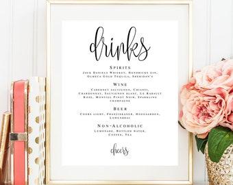 Wedding drink menu template Bar signs for wedding Editable menu Wedding bar menu sign Adventure wedding Literary wedding sign Princess #vm41