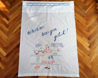 Vintage Kitchen Towel, Embroidered Kitchen Towel, Embroidered Tea Towel, Dish Towel, Dutch Kitchen Towel, Hanging Tea Towel, Vintage Linens