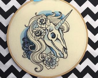 Unicorn skull embroidery hoop