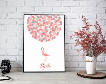 Pink Flamingo Guest Book poster | Baby Shower guest book alternative | Baptism gift idea | First birtday |Nursery Wall Art.