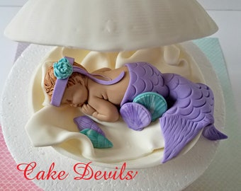 Mermaid in a Clam shell Baby Shower Cake Topper, Fondant Clam shell Cake Decoration, Sleeping Baby Mermaid, Baby Shower Cake, Clamshell