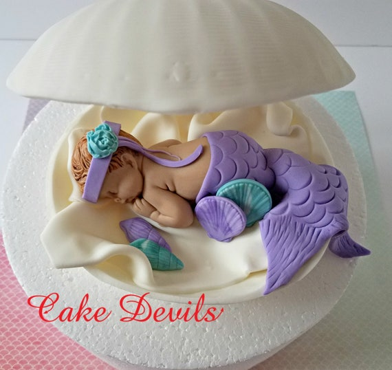 Mermaid In A Clam Shell Baby Shower Cake Topper Fondant Clam