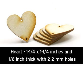 Unfinished Wood Heart - 1-1/4 x 1-1/4 and 1/8 inch thick with 2 2mm holes wooden shape (HART38)