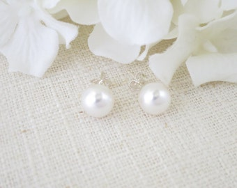 Swarovski pearl stud earrings, Simple pearl wedding earrings, 8mm pearl bridal earrings, Pearl post earrings, Bridesmaid earrings