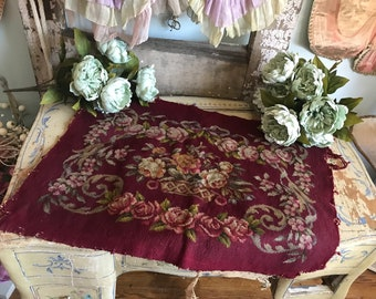 Antique Embroidered Needlepoint Tapestry Sette Panel Deep Maroon Red Pink Roses K83
