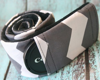Camera Strap Cover with Lens Cap Pocket - Padded Minky - Photographer Gift - Gray Chevron with Black- MADE TO ORDER