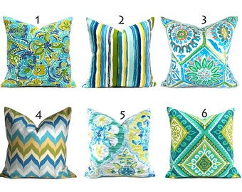 Turquoise Outdoor Pillows ANY SIZE Outdoor Cushions Outdoor Pillow Covers Decorative Pillows Outdoor Cushion Covers Best Pillow You Choose