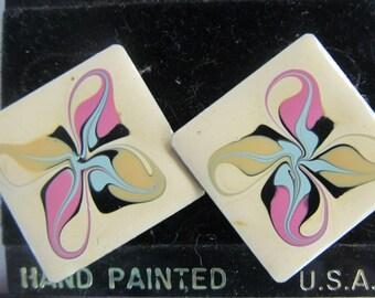 Funkadelic Enamelware Earrings Enamel Jewelry Designer Hand Painted Psychedelic Jewelry