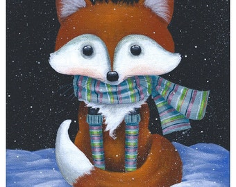 Blank Note Card of a Cute Red Fox Wearing a Striped Scarf and Socks Sitting in the Snow