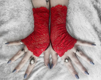 Nithya Long Lace Fingerless Gloves - True Red Floral Scroll - Wedding Bridal Mori Girl Woodland Gothic Vampire Fetish Dark Burlesque Goth