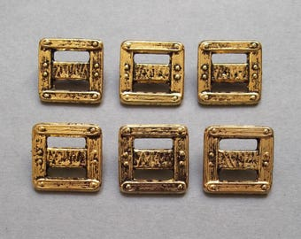 6 buttons square metal gold antique gold 20 mm