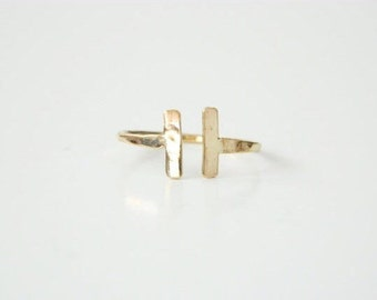 Double Bar Ring, Stacked Ring, Open Ring, Midi Ring, Gold Ring, Stacking Ring, Rose Gold Rings, Silver Rings