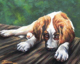 "Pet Portrait- Custom Painting in Acrylics or Pastel - Original Dog Art 20"" x 15"""
