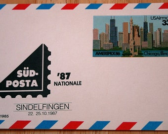 Mint USPS Airmail Stamped Postcards--Scott #UXC23 SUD--Ameripex86 Chicago, Illinois 33c--1987--Shipping Included