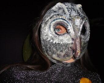 Halloween mask Paper mache papier mache owl mask Silver Smart bird costume