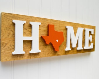 """Texas Longhorns """"State Heart"""" Home Sign - Handcrafted wood with official team colors"""