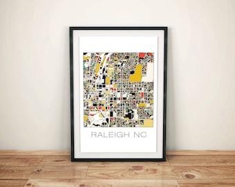 Raleigh Art, Raleigh NC, Raleigh Map, Raleigh Print