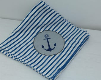 Navy Swaddle 60 x 60 cm striped blue and white anchor marine