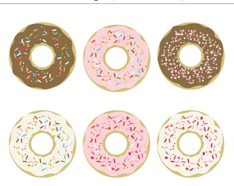 Sprinkle Donuts Digital Clip Art - 6 Pieces, Commercial Use, Baking, Bakery, Sweets, Kitchen, Valentine's, Coffee, Cake, Donut Party