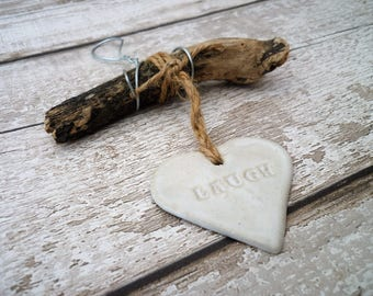 Driftwood art, Loveheart hanger, home decor, wall hanging.
