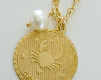 Vintage Necklace - Gold Necklace - July Birthstone Necklace  - Pearl Birthstone Necklace - Vintage Brass jewelry - handmade jewelry