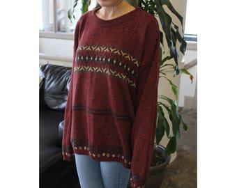 Geometric Striped Slouchy Sweater