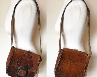 Vintage Tooled Leather Bag - Small
