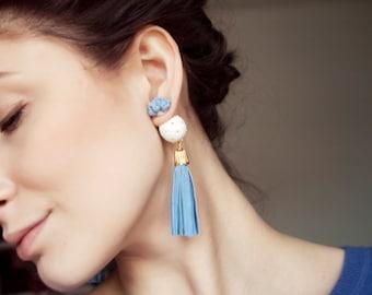 Ear Jacket Earring, Stud Earring, Tassel Earring, Double Sided Earring, Stud Earring, Double Pearl Earring, Blue Earring,Double Ball Earring