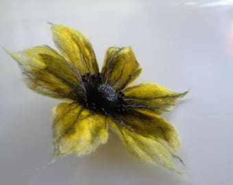 Yellow Black Flower,  Brooch Flower, Wool Jewelry, Felt Flower Pin, Wool Brooch, Gift for her, Handmade