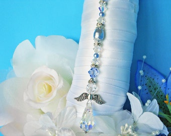 Something Blue Angel Bouquet Charm Swarovski Crystal and Pearl Wedding Bouquet Charm