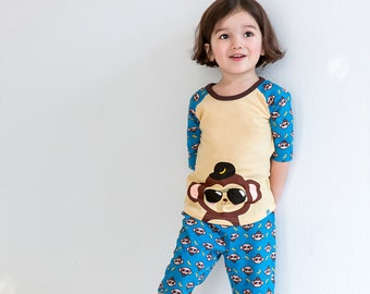 100% Cotton 2pcs 12M-7T  Boys 3/4 Sleeves Pajama Homewear Clothing Set Monkey