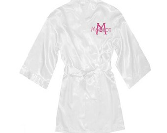 Monogrammed Kids Satin Robe, Personalized Childrens Satin Robe, Name and Initial Satin Robe for Kids, Embroidered Kids Satin Robe