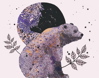 Woodland Forest Series: Bear & Moon — Art Illustration Giclee Print