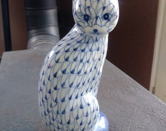 Vintage Ceramic Figurine, Blue & White Siamese Cat, Hand Painted, Andrea by Sadek