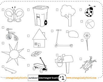 Printable HOME SCAVENGER HUNT 2 Illustrated Kid's