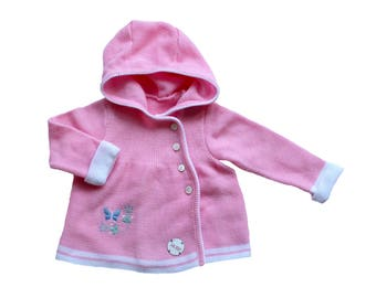 """FRENCH VINTAGE 70/80's / baby girl cardigan / pink and white + """" butterfly """" embroidery / new old stock / size 6 months"""