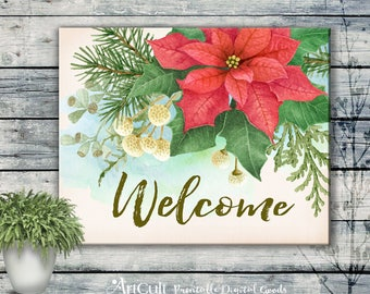Printable artwork WELCOME Christmas sign digital download for room decoration and party watercolor flowers season greetings artcult design