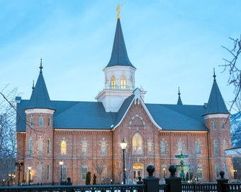 Provo City Temple at dusk