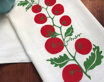 hand printed tea towel, tomatoes, red kitchen towel, leaves, red and green, flour sack towel, eco-conscious gift, shower gift under 50,