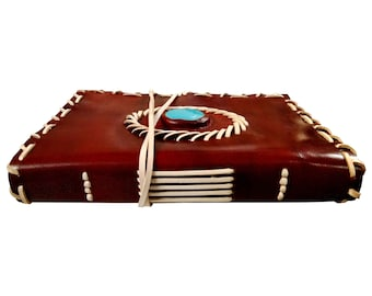 Genuine turquoise stone leather journal