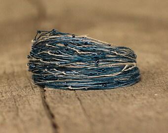 Magnetic Bracelet, Seed Bead Jewelry, Dainty Linen Thread Bracelet, Colorful String Bracelet, Super Delicate Bracelet, Soft Jewelry, Blue