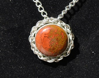 Sterling Silver Pendant, Handmade Necklace, Laguna Crazy Lace Agate, Necklace For Women, Gift Under 75, Red Jewelry