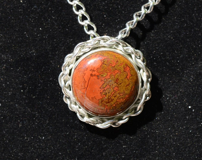 Featured listing image: Handmade Sterling  Pendant with  Laguna Crazy Lace Agate Cabochon