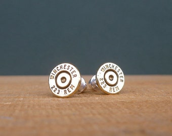 223 Winchester Remington bullet earrings | sterling silver studs | gift for him or her | bullet studs
