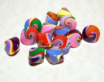 NOW ON SALE Handmade Polymer Clay Bicone Beads  - Bright Bold Colors