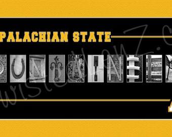 Appalachian State University (ASU) Mountaineers Alphabet Photo Collage