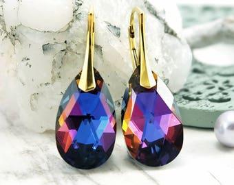Rainbow earrings, Swarovski earrings, Teardrop crystal earrings, Rose gold earrings, Dangle Sterling Silver earrings, Gold plated earrings 1