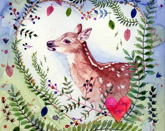 fawn and florals original watercolor painting